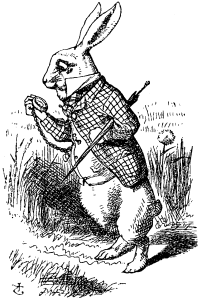 John Tenniel's depiction of this anthropomorphic rabbit was featured in the first chapter of Lewis Carroll's Alice's Adventures in Wonderland
